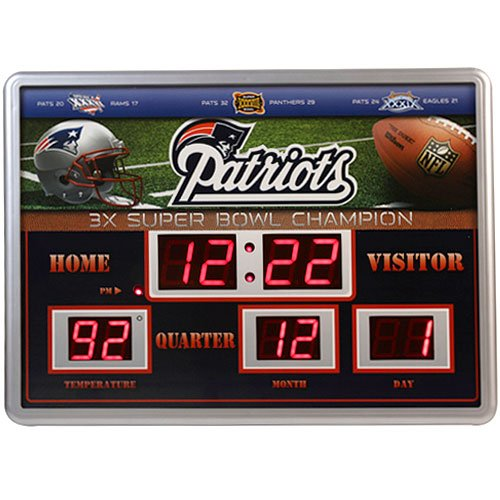NFL New England Patriots 14x19 Inch ScoreBoard-Clock-Thermometer (Comm)