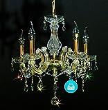 KRONLEUCHTER KRISTALL Lüster Ø45cm mit SPECTRA CRYSTAL von SWAROVSKI + Murano Glaß Arme Gold