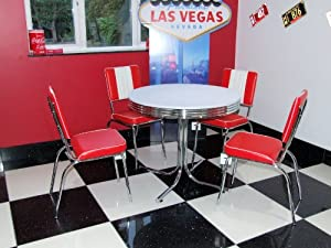 retro style table and 4 red chairs kitchen home