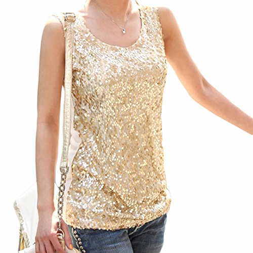 Women Spangle Sequin sparkle glitter Tank Top Vest Sleeveless T-Shirt Camisole (M, Golden) (Gold Glitter Shirt)