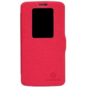 Dolextech Frische Series Mix PU Leder Quick window hülle tasche Schutzhülle case für LG G2 D802 smartphone 100% Nillkin Schutzhülle (für LG G2, rot)