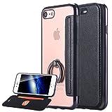 LONTECT iPhone 7 Case, iPhone 7 手帳型ケース 軽量 高品質 超薄型 超耐磨 最軽量 手帳型 背面クリア リング付き 落下防止 レザーケース 1枚カードポケット Apple iPhone 7 対応 - 黒