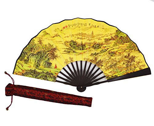 Amajiji High Quality Handmade Silk Folding fan for Men Chinese Style,Chinese Hand Painted Design Silk Folding Fan(33cm) (002)