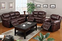 Hot Sale Reclining Living Room Set in Espresso Padded Leatherette (Sofa, Love seat, Rocker Chair)