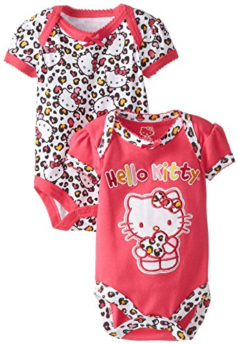 Hello Kitty Baby-Girls Newborn 2 Pack Bodysuit Leopard