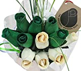 St. Patrick's Day Green and White Flower Bouquet Wooden Roses Closed Bud 1 Dozen