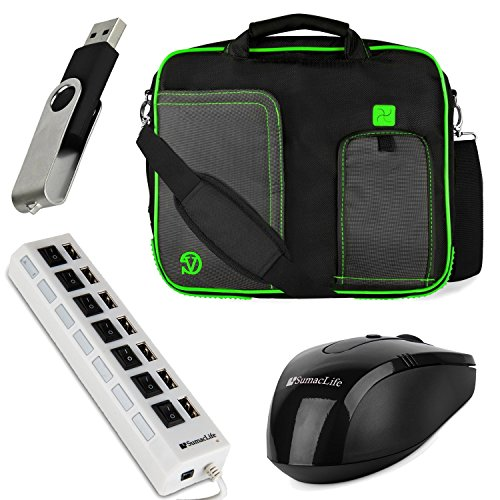 Vg Pindar Messenger Carrying Bag For Dell Latitude 12 7000 / Latitude 12 5000 12.5-Inch Laptops (Green) + Black Wireless Usb Mouse + Black 4Gb Thumbdrive + Universal 7 Port Usb Hub With On/Off Switch