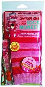 Monkey Sock Monkey Pink Soft Sock Monkey Kit, Rosie La Vie (Does Not Include Stuffing)