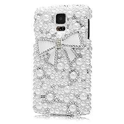 Samsung Galaxy S5 Case, Sense-TE Glamour Crystal 3D Handmade Sparkle Glitter Bowknot Polka Dot Pearl Gem Rhinestone Green Cover for Samsung Galaxy S5 G900 with Retro Bowknot Anti Dust Plug - White