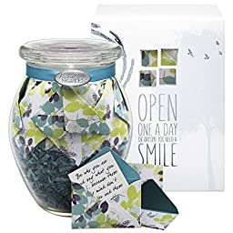 Glass KindNotes MOM Keepsake Gift Jar of Messages for Mothers Birthday, Just Because, Mother\'s Day - Calm Breeze