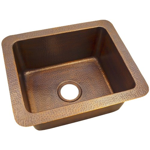 The Copper Factory CF162AN Solid Hand Hammered Copper 18-Inch by 12-Inch Single Bowl Drop-In/Undermount Sink, Antique Copper