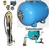 Hauswasserwerk m. Edelstahl Tiefbrunnenpumpe 4' 750W u. 50L Druckkessel Bausatz