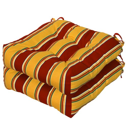 Greendale Home Fashions Indoor/Outdoor Chair Cushions, Carnival Stripe, 20-Inch, Set of 2
