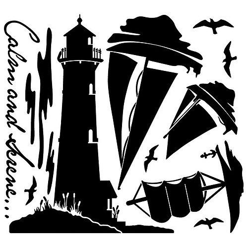 Reusable Decoration Wall Sticker Decal   Serene Lighthouse Sailboats