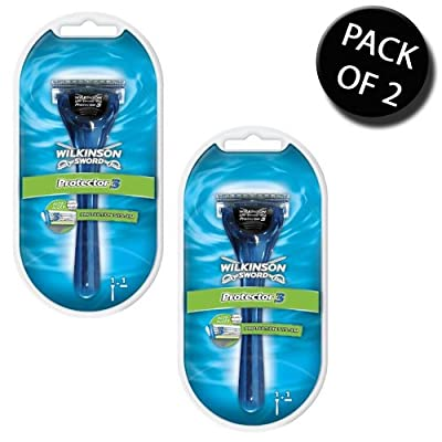 2x Wilkinson Sword 7005371E Mens Protector 3 Razor 1 up