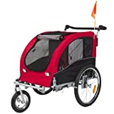 2 in 1 Pet Dog Bike Trailer Bicycle Trailer Stroller Jogger w/ Suspension Red
