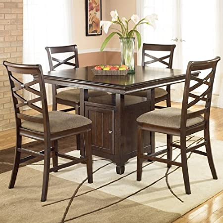 5PC Square Counter Height Table and Stools Set
