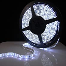 LED Strip light, Waterproof LED Flexible Light Strip 12V with 300 SMD LED, 3258 Cool White. 16.4 Foot / 5 Meter. With 3M Adhesive Back. By Olympic Lighting