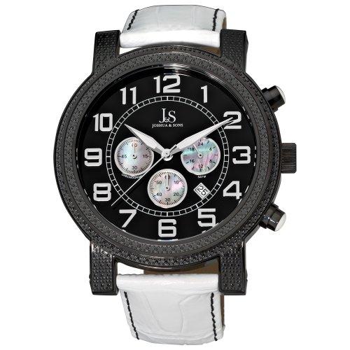 Joshua & Sons Reloj de hombre cuarzo 53mm cronógrafo correa de cuero genuino color blanco JS-07-BK
