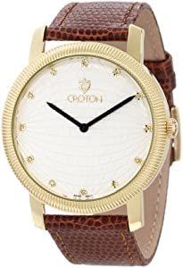Croton Men's CN307298HBYL Diamond Accented Light Silver Textured Dial Brown Lizard Leather Watch