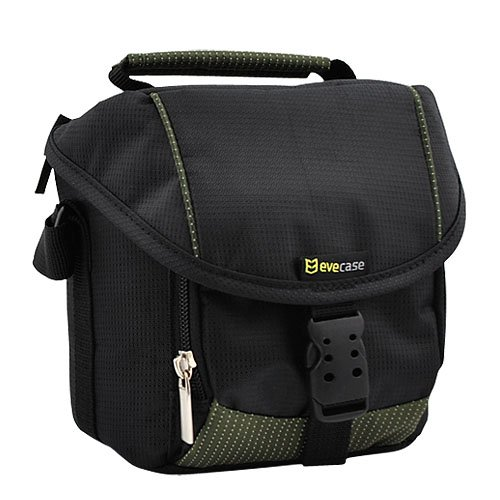 Evecase Black Large Digital Camera Pouch Nylon Case With Strap For Canon And Nikon Cameras