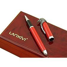 American Lanxivi de águila calva bolígrafo de punta redonda de cabeza de arma de juguete Collection rojo caja de madera bolígrafo funda