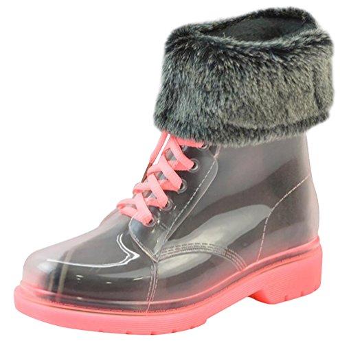 LvRao Donne Scarpe Caldo da Neve Pioggia Stivali Impermeabili Trasparenti Caviglia Corte Stivaletti con Laccio Rosa con Pelliccia Dimensione Europea 36