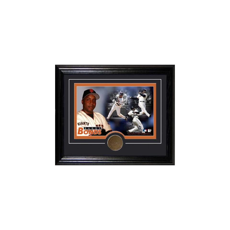 San Francisco Giants BARRY BONDS Framed & Double Matted 8 x 10 with BRONZE COIN By Highland Mint