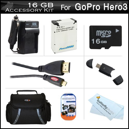 16Gb Accessories Kit For Gopro Hd Hero3, Gopro Hero3+ Includes 16Gb High Speed Micro Sd Memory Card + Extended Replacement (1200 Mah) For Ahdbt-301, Ahdbt-201 Battery + Ac/Dc Travel Charger + Micro Hdmi Cable + Usb 2.0 Card Reader + Case + More