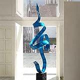 Blue Perfect Moment Contemporary Metal Sculpture, Tall Blue Garden Sculpture and Yard Art