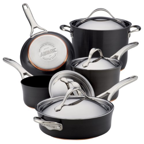 Anolon Nouvelle Copper Hard Anodized Nonstick 9-Piece Cookware Set