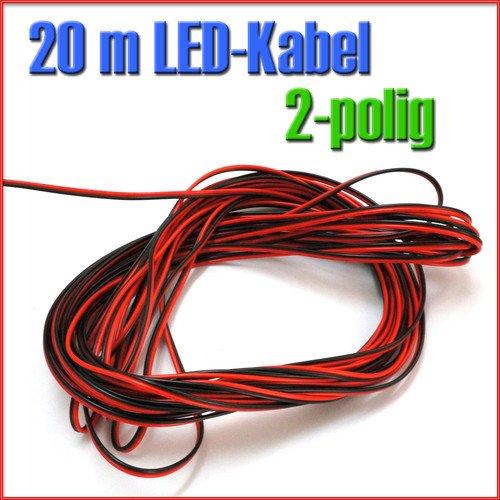 20 m LED Verlängerung Kabel 2 pol f. einfarbig LED Leiste Streifen Strip 20 m LED Verlängerung Kabel 2 pol f. einfarbig LED Leiste Streifen Strip C220