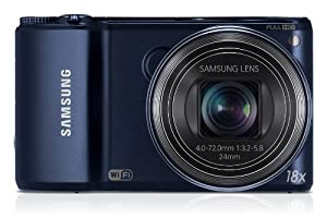 Samsung WB250F Smart Camera 2.0 with Built-In Wi-Fi Connectivity Cobalt Black (Dark Blue) (14MP CMOS, 18x Optical Zoom) 3.0 inch HVGA Touch Screen