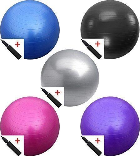 TNP Gymnastikball / Übungsball, mit doppelwirkender Pumpe, Blau Blau blau