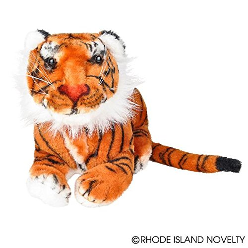 One Realistic Stuffed Animal Plush Tiger In Laying Position - 15""
