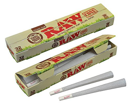 RAW Organic Unrefined Pre-Rolled Cone 32 Pack (King Size) (Smokers Box Marijuana compare prices)