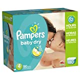 Pampers Baby Dry Diapers Size 4 Economy Pack Plus 180 Count, 180.000 Count