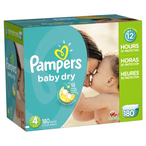 Pampers Baby Dry Diapers Size 4 Economy Pack Plus 180 Count
