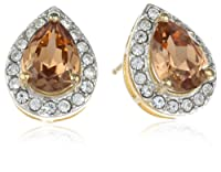 Sterling Silver with Gold Plated Crystal and Clear Crystal Pear Shape Studs from The Aaron Group - HK DI