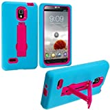 Baby Blue / Hot Pink Hybrid Rugged Hard Silicone Case Cover w/ Stand for LG Optimus L9 P769 P760