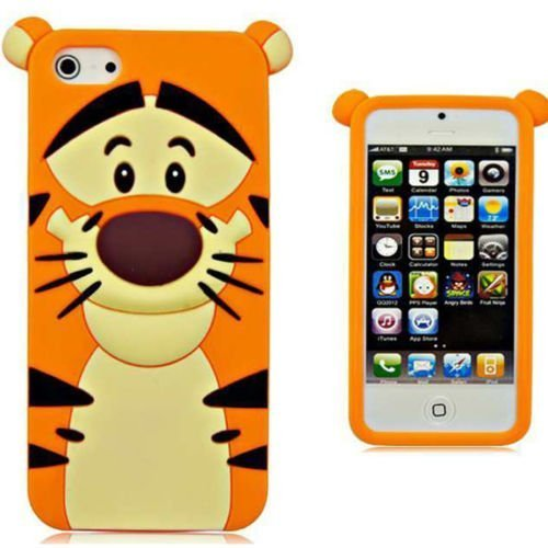 IPhone 5 5S 5C Case,Anya 3D Fashion Cute Flower Bow Ears Classic Cartoon Animal Soft Rubber Robot Silicone Back Shell Case Cover Skin for Apple iPhone 5 5S 5C Tigger