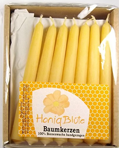 Palettas Christbaumkerzen 100% reines gelbes Bienenwachs Kerze 20 Stück im Karton