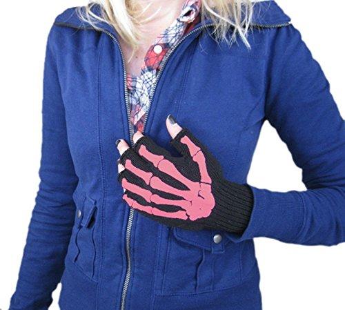 Pink Skeleton Bones Fingerless Texting Gloves - 1