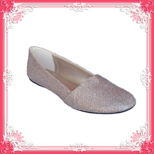 Women&#x27;s Qupid Champagne Glitter Round Toe Flat (Serina726)