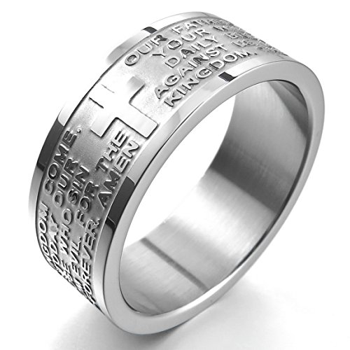 Men'S Wide 8Mm Stainless Steel Ring Band Silver English Bible Lords Prayer Cross Vintage Size8