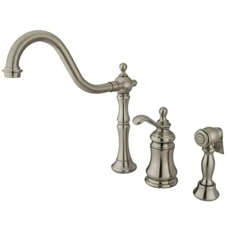 Gourmetier GS7808TPLBS Templeton Widespread Kitchen Faucet with Single Metal Lever Handle and Brass