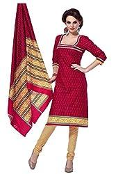 HIFI Ethnicwear Women's Dress Material(HIFI 3201_Red_Free Size)