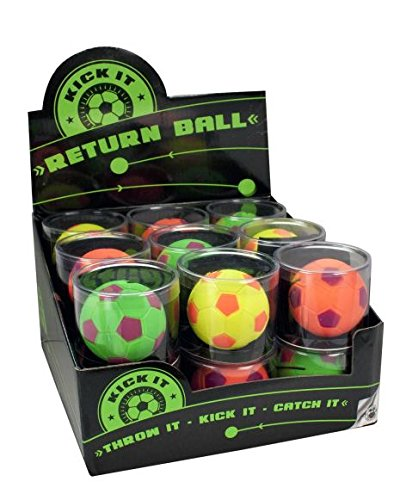 Springball Kick it Return Ball Neonfarben mit Gummiband 3-fach sortiert 50mm, Verpackungseinheit: 18 Stück