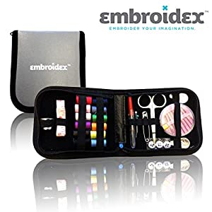 Sewing Kit Embroidex Compact Zippered Hiqh Quality Filled with Sewing Notions Supplies - Trendy Perfect for Beginners, Travel, Mending, Fashion Emergencies,Camping and Dorm Dwellers Everything Neatly Packaged Ready to Go Perfect Gift for Grandma, Mom, Bri