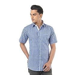 ZIDO Blue Blended Men's Checks Shirts PCFLXHS1315_Blue_40